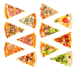 set of Different slices of pizza isolated on white. Delicious fresh Italian pizza top view