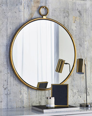 Mirror with vintage silver frame interior room hotel