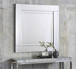 Mirror with vintage silver frame interior room hotel