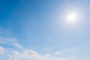 Blue sky with sun and cloud, Nature background.