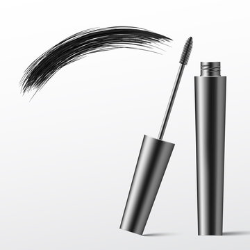 Mascara brush. Cosmetics. Makeup. Realistic 3d mock-up of cosmetics. Vector illustration design.