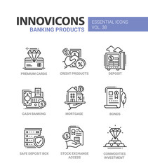 Banking Products - modern vector line design icons set.