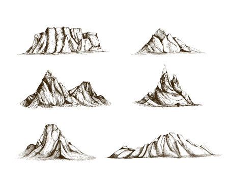 Collection of mountains hand drawn in vintage style. Set of beautiful retro drawings of different rock cliffs and peaks isolated on white background. Vector illustration.