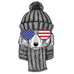 Wolf Dog wearing knitted hat and scarf