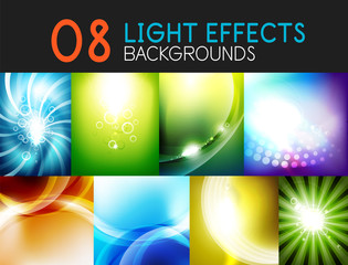 Set of light effect backgrounds - shiny sky abstract backgrounds
