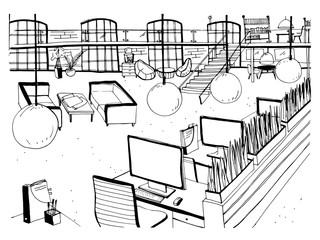 Monochrome drawing of interior of open co-working space with desks, computers, chairs and other modern furnishings. Hand drawn sketch of working environment or large office. Vector illustration.
