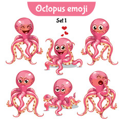 Vector set of cute octopus characters. Set 1