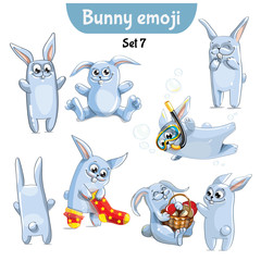 Vector set of cute rabbit characters. Set 7