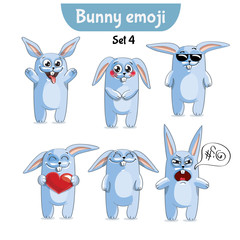 Vector set of cute rabbit characters. Set 4