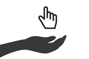 Hand hält Mauszeiger