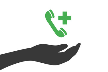 Hand hält Telefon - Notruf