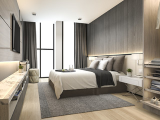 3d rendering luxury modern bedroom suite in hotel with wardrobe and walk in closet Wall mural