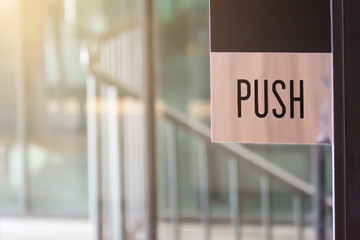 Push symbol at the door.