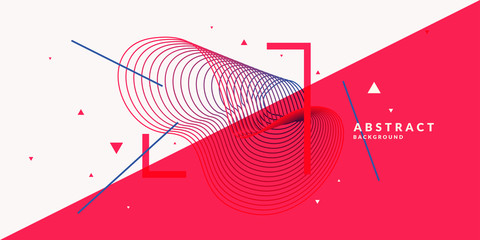 Abstract background with dynamic linear waves. Vector illustration in flat style