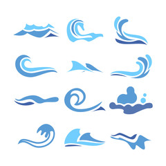Wave Water Icon Set Vector. Flowing Water Elements. Isolated Illustration