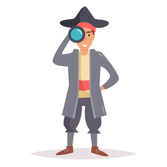 Pirate with telescope. Vector