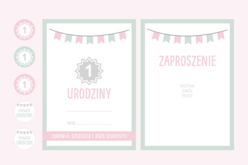 Obraz baby first birthday party invitation with girland - vector design for girl or boy  - fototapety do salonu