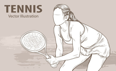 Hand sketch of professional tennis player. Vector sport illustration. Graphic silhouette of the girl athlete on background design. Active people. Recreation lifestyle.