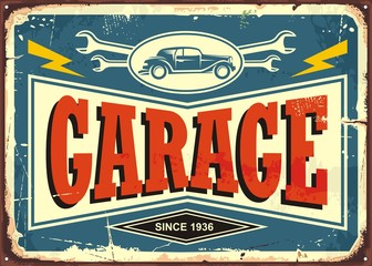 Vintage garage sign with car image and wrench tools