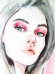 watercolor portrait of a girl. bright makeup