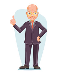 Old Wise Man Elderly Asian Businessman Chinese Japanese Vietnamese Male Employee Boss Hand Forefinger Up Cartoon Character Design Vector Illustration