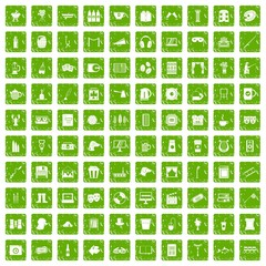 100 leisure icons set grunge green