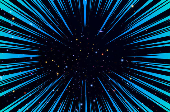 Hyper Speed Warp Sun Rays or Explosion Boom for Comic Books Radial Background Vector