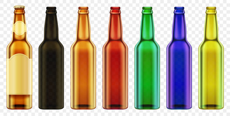 Vector Beer bottle color glass isolated. Packaging mockup with realistic bottles set.