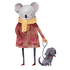 Cute watercolor koala with dog. Hand drawn watercolor illustration. Perfect for prints, postcards and other kids stuff.