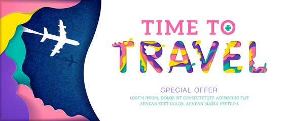 Colorful Time to travel banner with abstract paper cut cloud. Origami papercut style Special offer. Vector illustration.