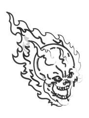 Burning Skull Vector Drawing