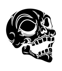 Laughing robotic tech Skull Silhouette - vector illustration