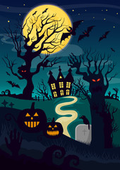 Silhouettes of mystic creatures and lantern pumpkin decoration for Halloween and horror house at night.