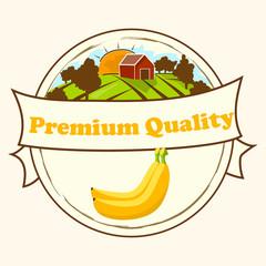 Vector circle label, banana jam, sauce or juice