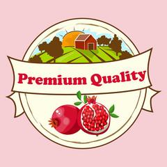pomegranate or garnet Label