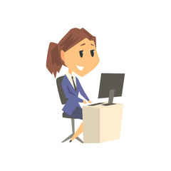 Smiling businesswoman character in formal wear working on a computer at her office desk, business person at work cartoon vector illustration