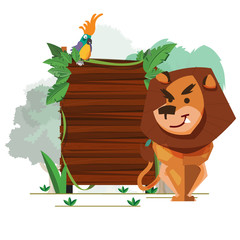 lion with jungle wood sign board - vector
