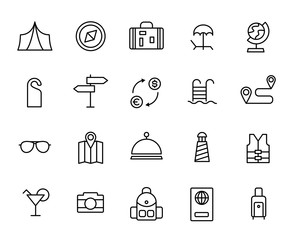 Premium set of travel line icons