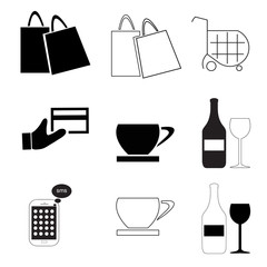 icons vector set with coffee - shopping cart - bags - drink glass - mobile phone - credit card