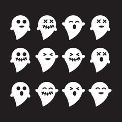 Pattern set emotions white n black bacground ghost vector image