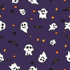 Hallowen pattern black bats, white ghost and orange pumpkin on violet background