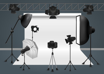 Photo studio with camera, lighting equipment flash spotlight, softbox and background. Vector illustration.