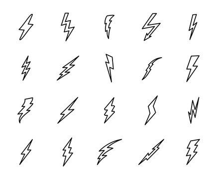 Premium set of thunder line icons.
