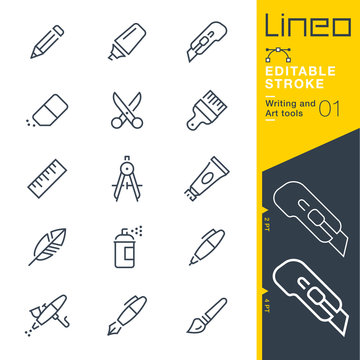 Lineo Editable Stroke - Writing and Art tools line icons Vector Icons - Adjust stroke weight - Expand to any size - Change to any colour