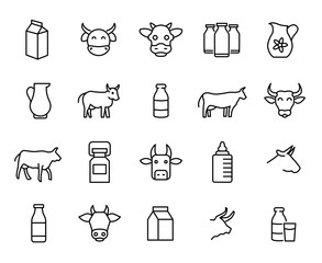 Premium set of milk and cow line icons.