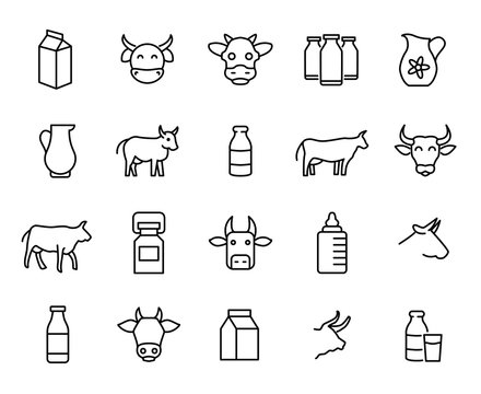 Premium set of milk and cow line icons.
