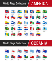 Set of American and Oceanian flags - World flags collection