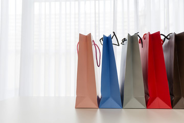 Modern christmas paper bag colorful shopping.