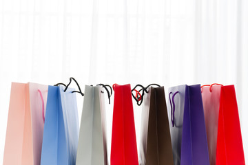 Modern christmas paper bag colorful shopping.