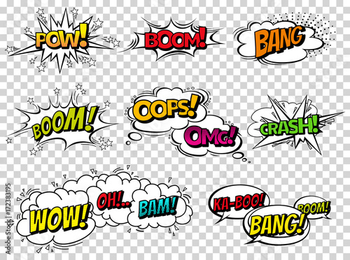 Comic book sound effect speech bubbles, expressions  Collection